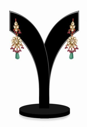 Exclusive Designer Kundan Earrings with Red, Green and White Stones-0