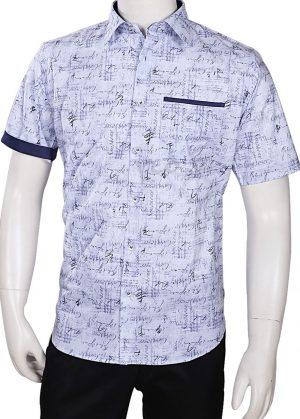 Designer Light Blue Formal Printed Linen Men's Shirt -0