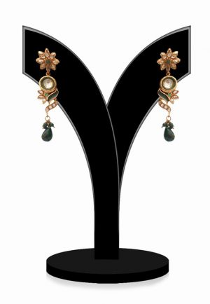Designer Party Earrings for Women in Green Stones From India-0
