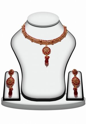 Exclusive Designer Polki Necklace set in Red Stone and Beads-0
