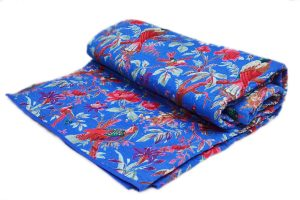 Buy Beautiful Fabric Handmade Quilts in Vibrant Blue Color-0