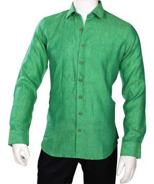 Fashionable Stylish Formal Green Linen Full Sleeves for Men -0