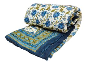 Beautiful Floral Designs Handmade Quilts in Blue, White And Green Colors-0