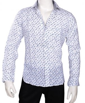 Formal Blue and White Linen Shirt for Men with Regular Fit-0