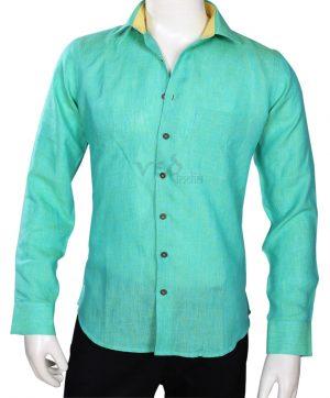 Formal Wear Smart Plain Sea Green Linen Shirt for Men -0