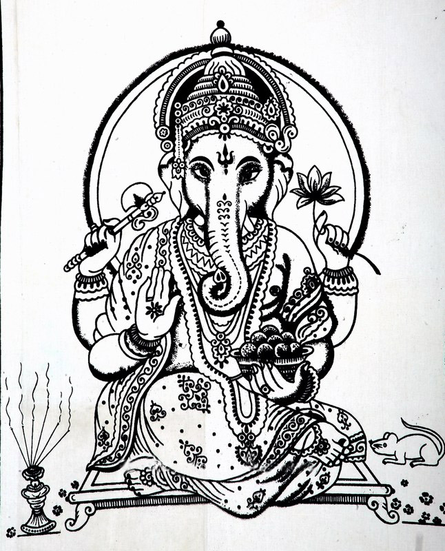Black and White Elegant Lord Ganesha Bohemian Tapestry Wall Hanging-3787