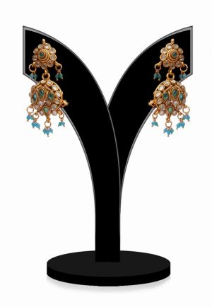 Gorgeous Earrings in Turquoise and White Stones for Girls-0