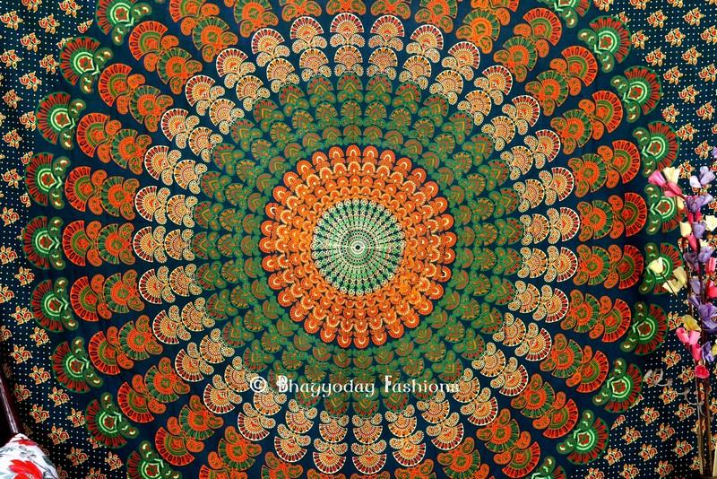 Green Twin Wings Mandala Peacock Hippie Tapestry Bedding Queen -0