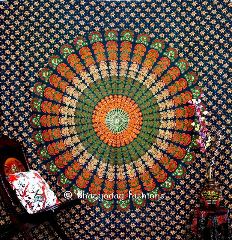 Green Twin Wings Mandala Peacock Hippie Tapestry Bedding Queen -1473