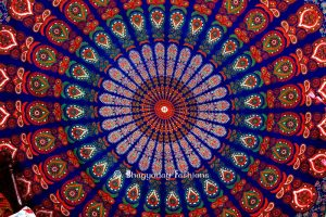 Hippie Mandala Peacock Tapestry Bedspread for Home in Blue Print-0