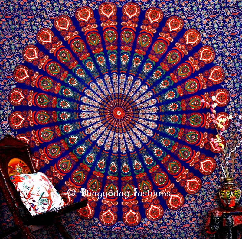 Hippie Mandala Peacock Tapestry Bedspread for Home in Blue Print-1483