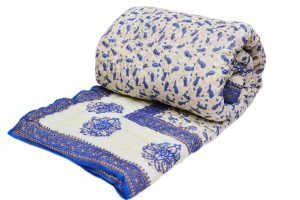 Designer Blue And White Hand Woven Indian Bed Quilts-0