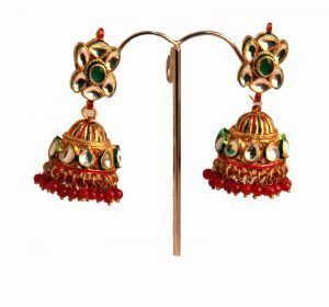 Shop Designer Jhumka Earrings Online from India in Kundan Stones-0