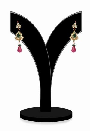 Gorgeous Green, Red and White Kundan Stone Earrings for Festivals-0