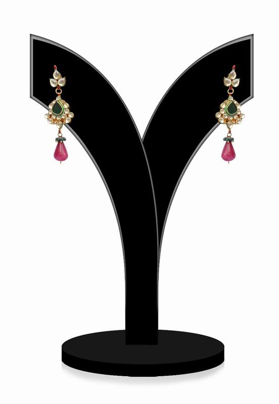 Gorgeous Green, Red and White Kundan Stone Earrings for Festivals-0