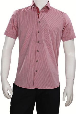 Light Maroon Plain Regular Fit Shirt for Wedding Parties for Men-0