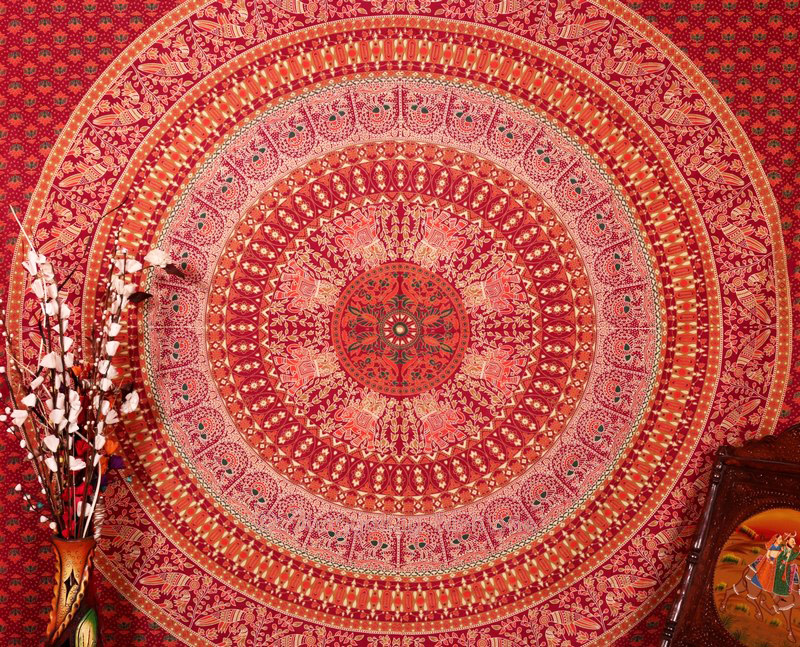 Maroon Parrot Mandala Boho Dorm Wall Tapestry Bedspread Queen-3837