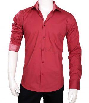 Designer Plain Maroon Mens Cotton Shirt for Wedding Parties-0