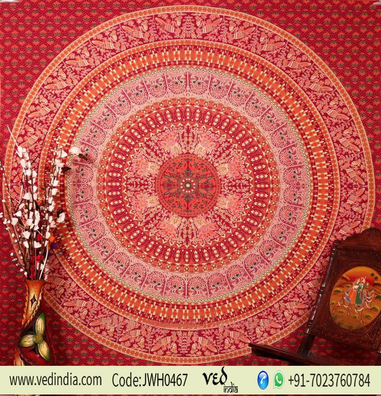 Maroon Parrot Mandala Boho Dorm Wall Tapestry Bedspread Queen-0
