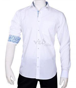 Stylish Men's Partywear Fashion Cotton Shirt in White and Blue-0
