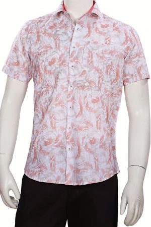 Multicolored Linen Shirt for Men with Regular Fit and Half Sleeves-0