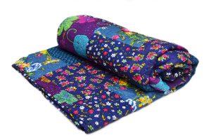 Designer Blue Patchwork Handmade Quilts With Multi Designs Patterns-0