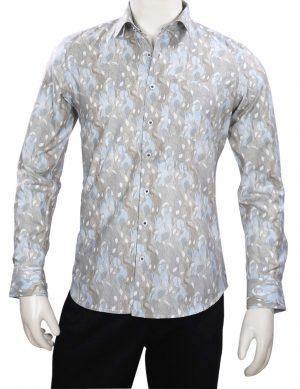 Pista Color Printed Regular Fit Linen Shirt for Wedding for Men-0