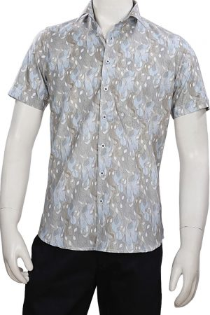 Pista Colored Printed Party Half Sleeves Shirt for Men in Linen-0