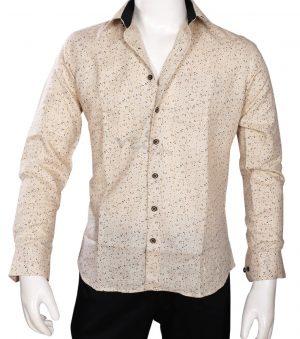 Posh Men's Party wear Fashion Linen Shirt in Wheat Brown -0