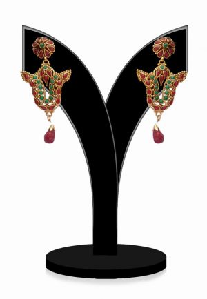 Ravishing Earrings for Women in Red and Green Stones for Outings-0