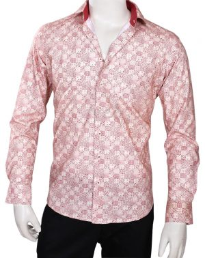 Red and White Printed Regular Fit Formal Linen Men's Shirt -0