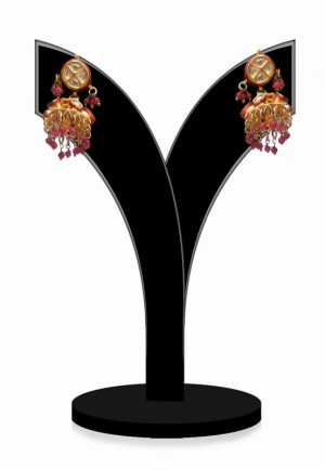 Traditional Red Stone Embellished Jhumkas for Festivals from India-0