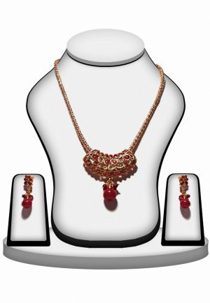 Shop Online Multicolored Fashion Polki Pendant Set with Earrings -0