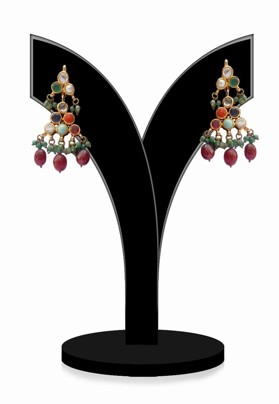 Multi-Colroed Stones Studded Jhumkas for Festivals and Weddings-0