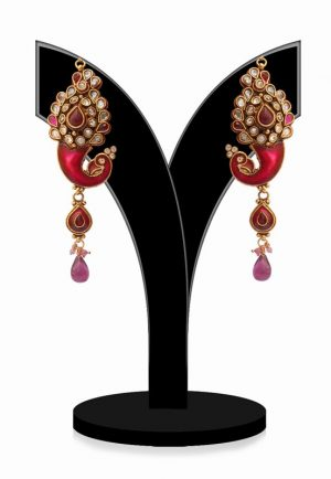 Traditional Red Stones Studded Party Jhumkas in Peacock Shape-0