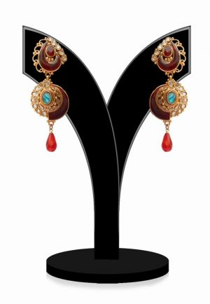 Stunning Earrings Embellished with Multi-Colored in Stylish Pattern-0