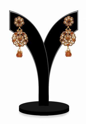 Beautiful Amber Stone Embellished Stylish Earrings From India-0