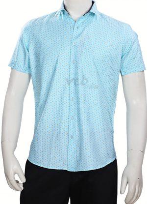 Stylish Fashion Half Sleeves Linen Shirt for Men in Aqua Blue-0