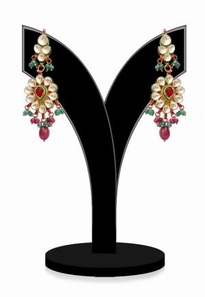 Traditional Kundan Jhumkas for Women in Red, Green and White Stones-0