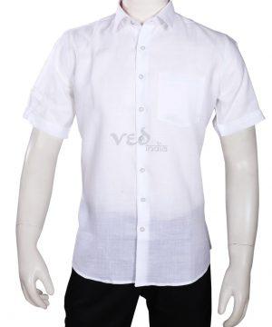 White Half Sleeves Men's Party wear Fashion Linen Shirt -0