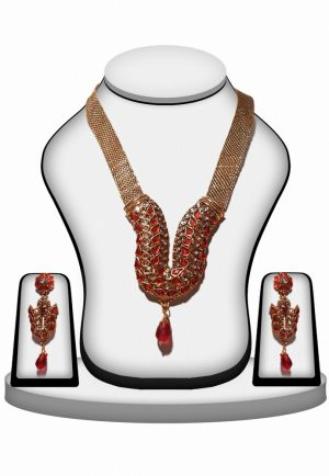 Buy Online Red and White Polki Stones Necklace and Earrings Set -0