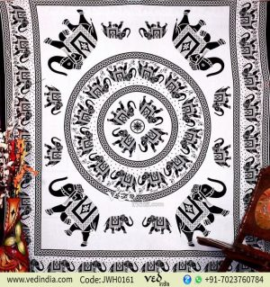 Black and White Bohemian Elephant Tapestry