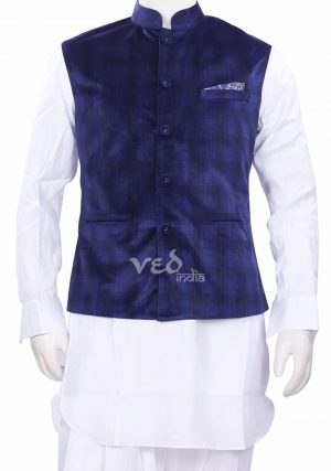 Blue Checks Ethnic Nehru Jacket and White Kurta Set for Men-0