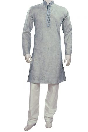 Elegant Blue Formal Fashionable Kurta Pyjama Set for Men-0