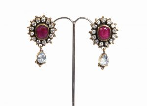 Buy Online Classic Fashion Earrings with CZ and Ruby Stones -0