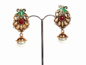 Classic Design Fashion Earrings in Red with Hanging Pearls-0