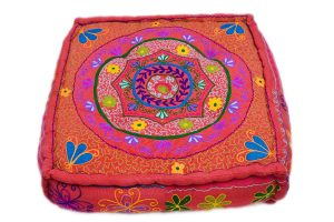 Modern Designer Colorful Pouf Ottomans With Handmade Designs-0
