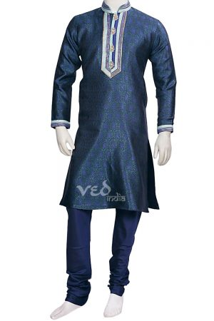 Casual Wear Dark Blue Traditional Menswear Kurta Pajama Set -0