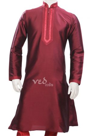 Dashing Maroon Formal Fashionable Kurta Pyjama Set for Men-0