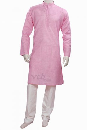 Dashing Pink Formal Fashionable Kurta Pyjama Set for Men-0